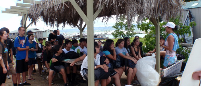 Teaching on Mokauea Island